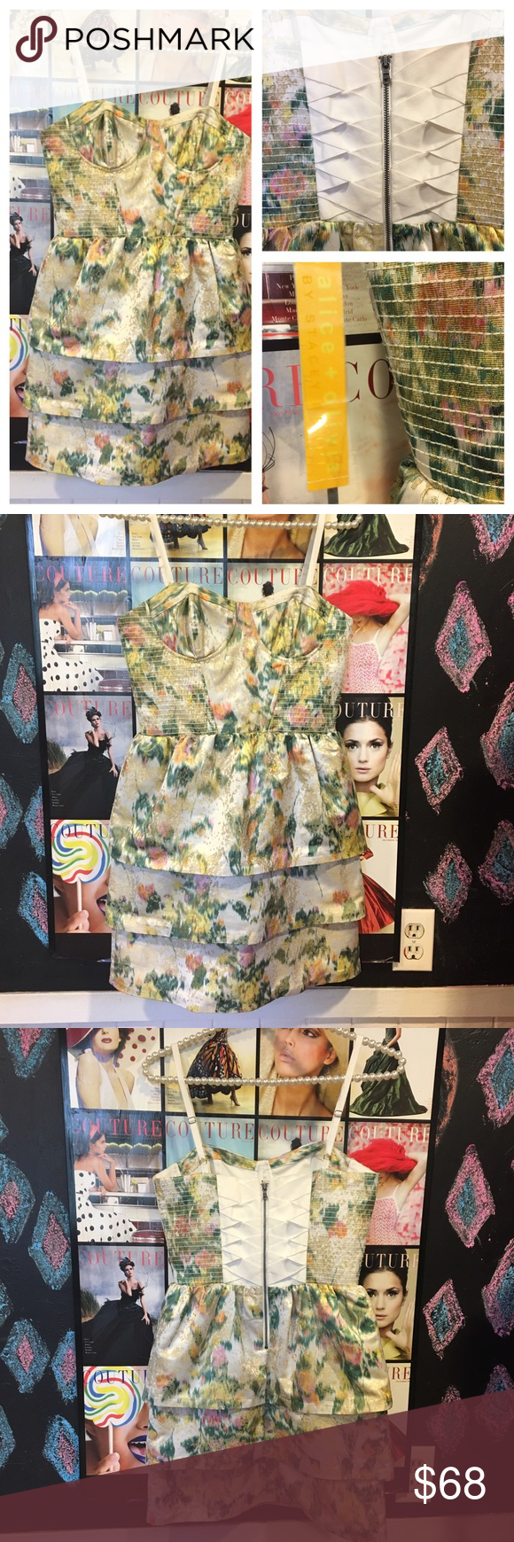 """Nwts Alice + Olivia corset spring DRESS sz0😍 Brand new with tags attached Alice + Olivia spring flower corset fun dress. Size 0  chest is 30-32 has stretch on sides waist is 26"""" perfect for spring. Alice + Olivia Dresses"""