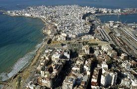 Panorámica aérea de Cádiz, provincia de Cádiz.