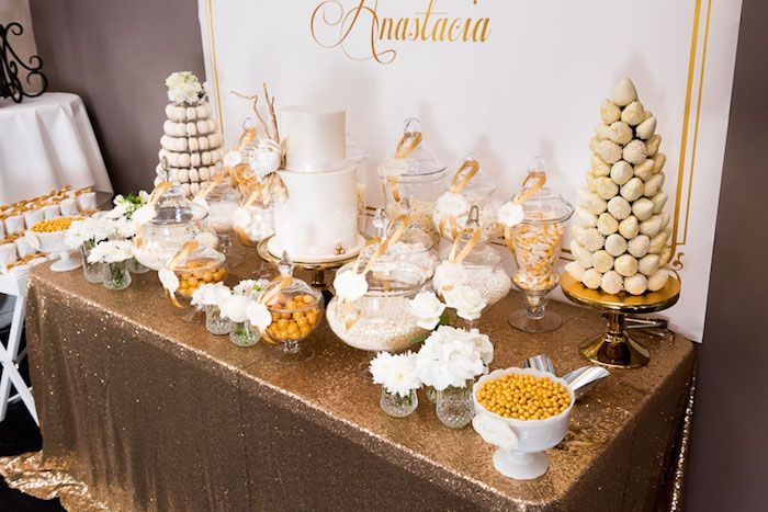 Elegant Gold White Baptism Party Gold Party Decorations 50th