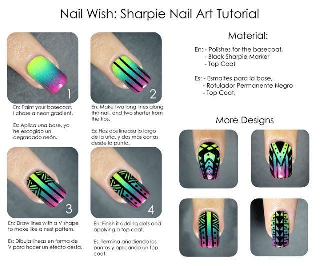 Sharpie Nail Art Tutorial! I LOVE this look, but always found doing the  black - Sharpie Nail Art Tutorial! I LOVE This Look, But Always Found