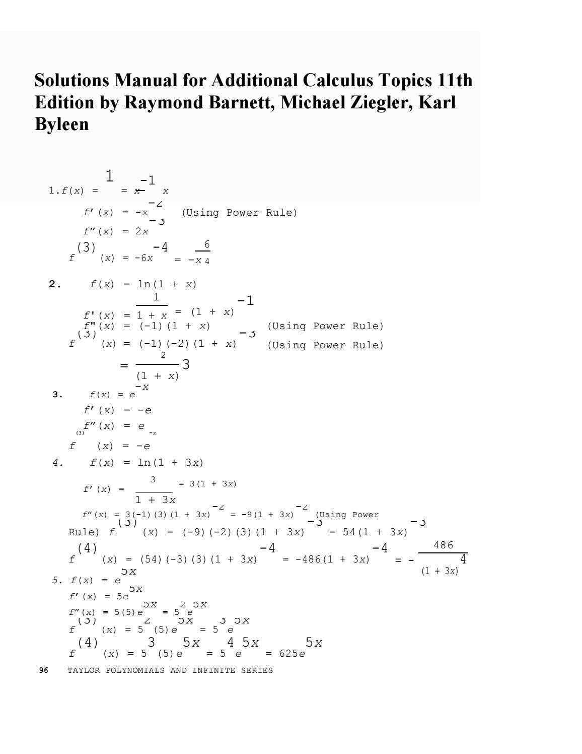 Link solutions manual for additional calculus topics 11th edition by  raymond barnett karl byleen mic