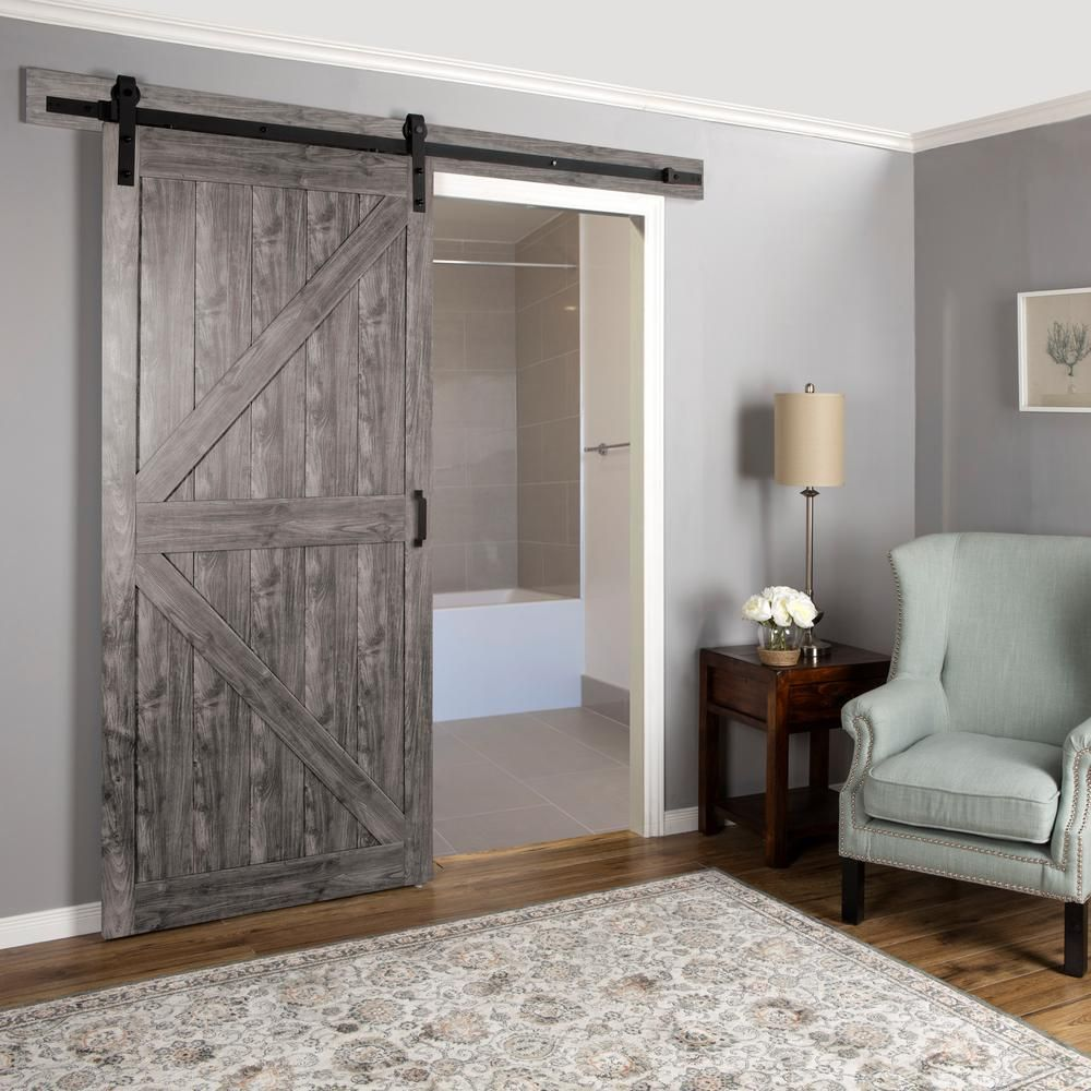 Truporte 36 In X 84 In Iron Age Grey K Design Solid Core Interior Mdf Sliding Barn Door With Rustic Hardware Kit Bd052w01ia1iag36084 The Home Depot Interior Barn Doors Home Interior