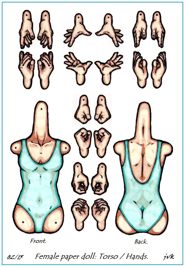 Jointed female paper doll. Torso and hands. by MadunTwoSwords on DeviantArt
