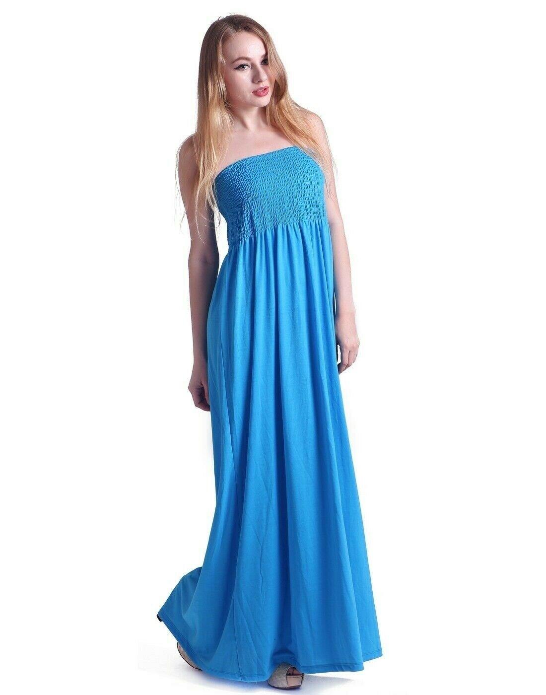 699e00dcbd Women's Strapless Maxi Dress Plus Size Tube Top Long Skirt Sundress ...