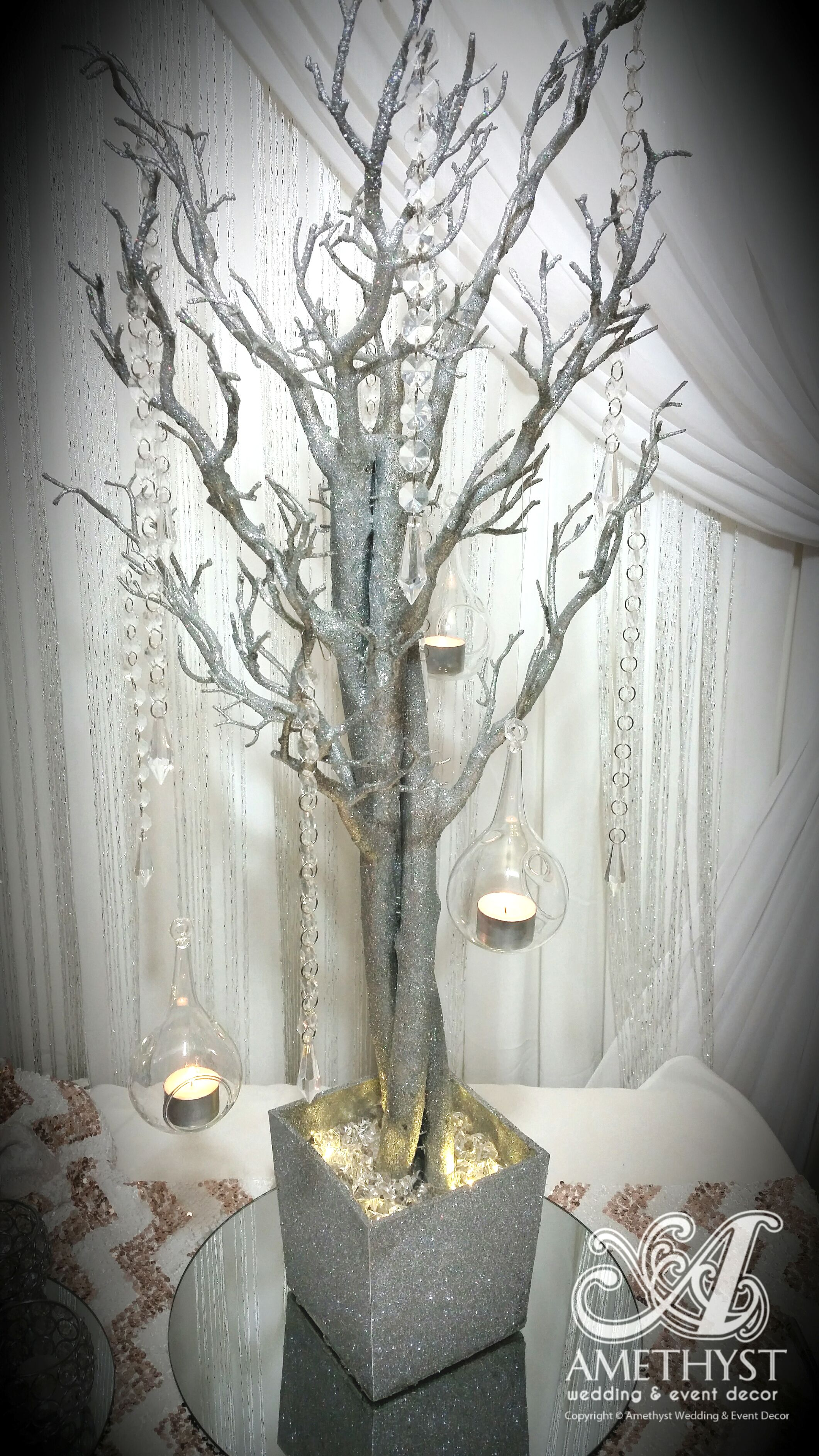 Crystal wedding tree centerpiece for hire in silver glitter. Perfect ...