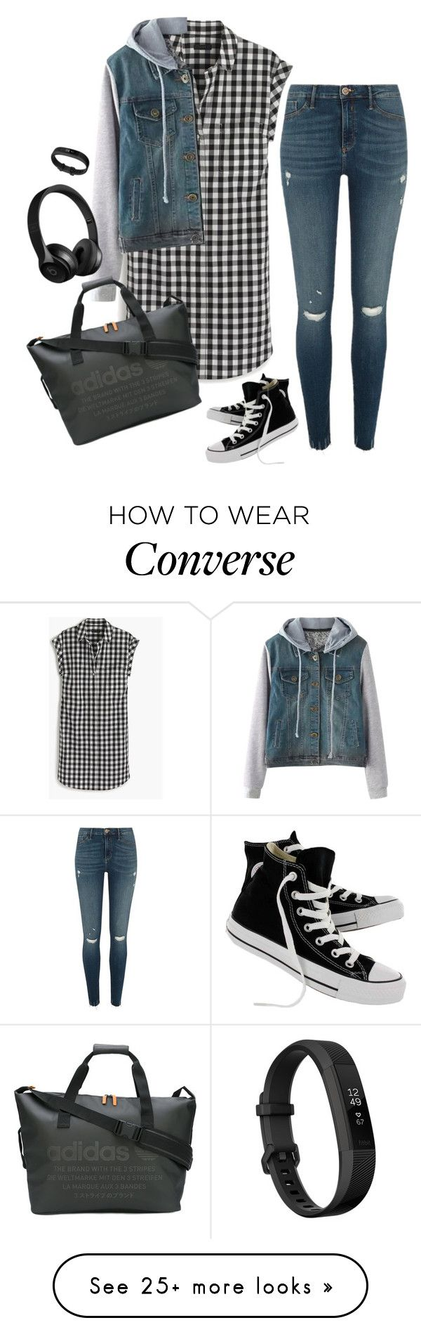 """casual sporty gingham dress"" by momoheart on Polyvore featuring Converse, River Island, adidas and Fitbit"