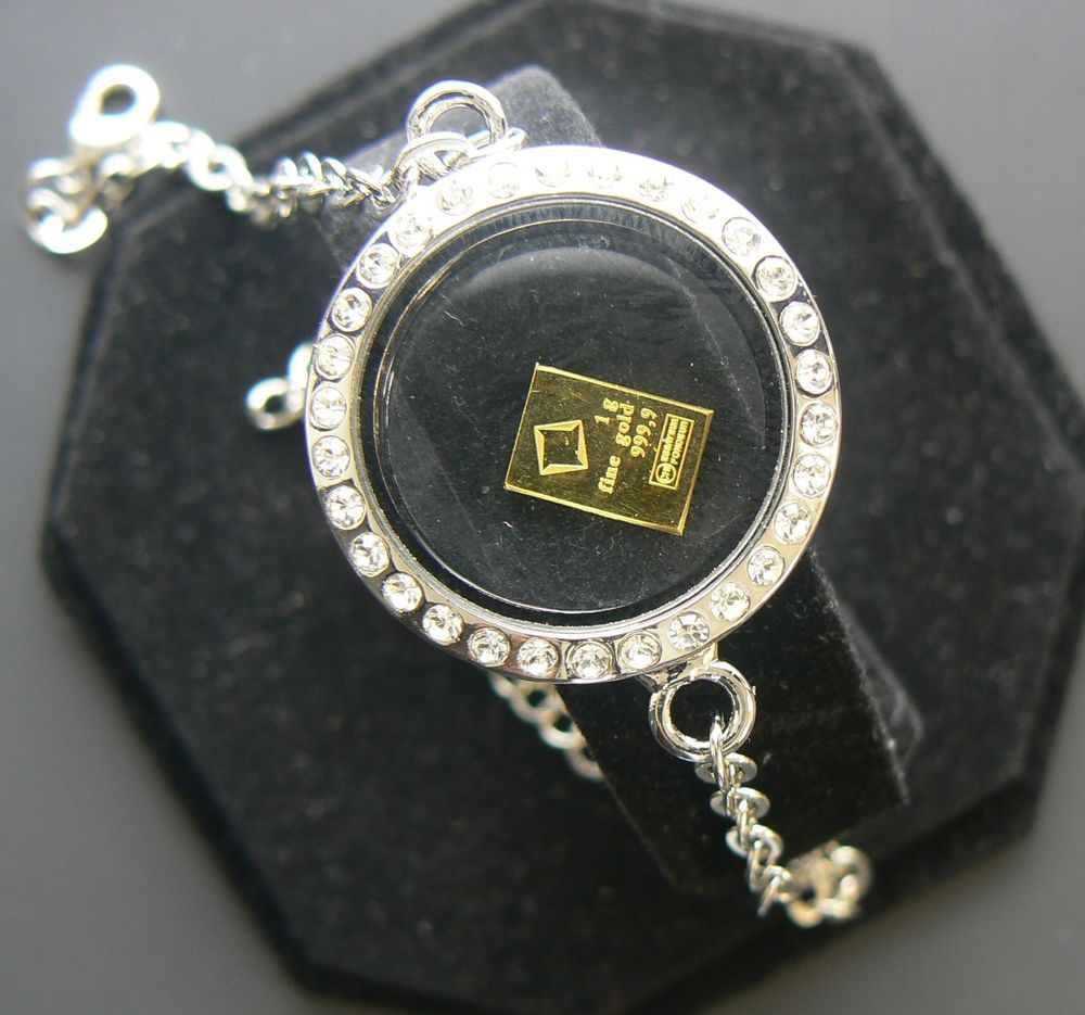 Floating round glass charm locket bracelet gram valcamb gold bar