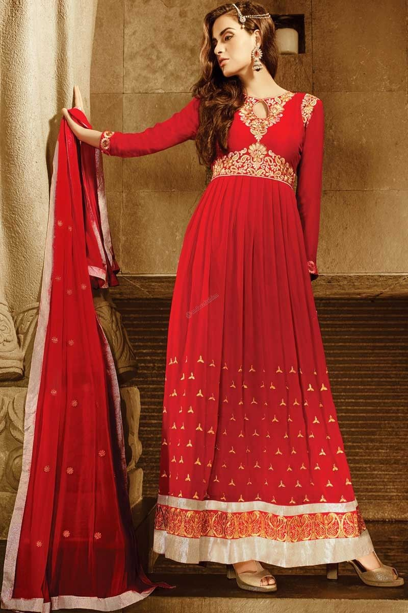Red Georgette, semi stictch anarkali churidar suit. Daman/hem, neck and allover embroidered with embroidered and zari work.  Round neck, Ankle length, full sleeves kameez.   Red santoon churidar.   Red chiffon dupatta with lace border with work.   http://www.andaazfashion.com/salwar-kameez/churidar-suits/fabric/georgette-churidar-suits