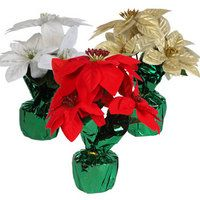 Christmas House 4-Stem Potted Poinsettia Bushes