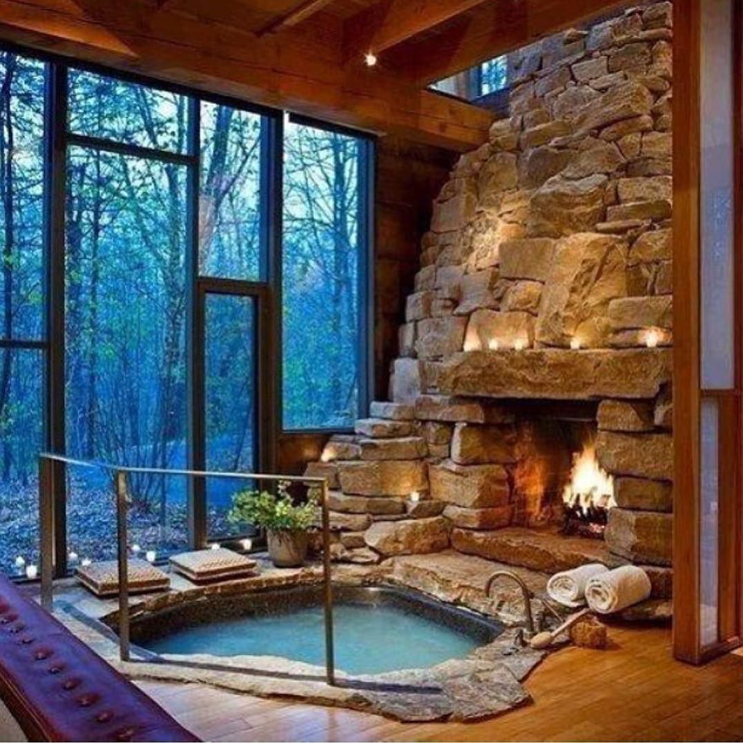 Best House On Instagram Which One You Prefer Jacuzzi Fireplace Or Both House Interior Interior Indoor Hot Tub Dream House My Dream Home