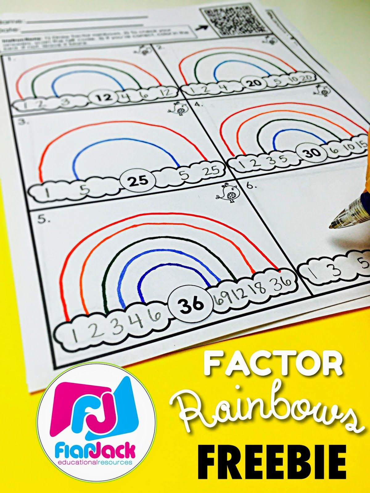 Factor Rainbows FREEBIE \u0026 Bundle - FlapJack   Upper elementary math [ 1600 x 1200 Pixel ]