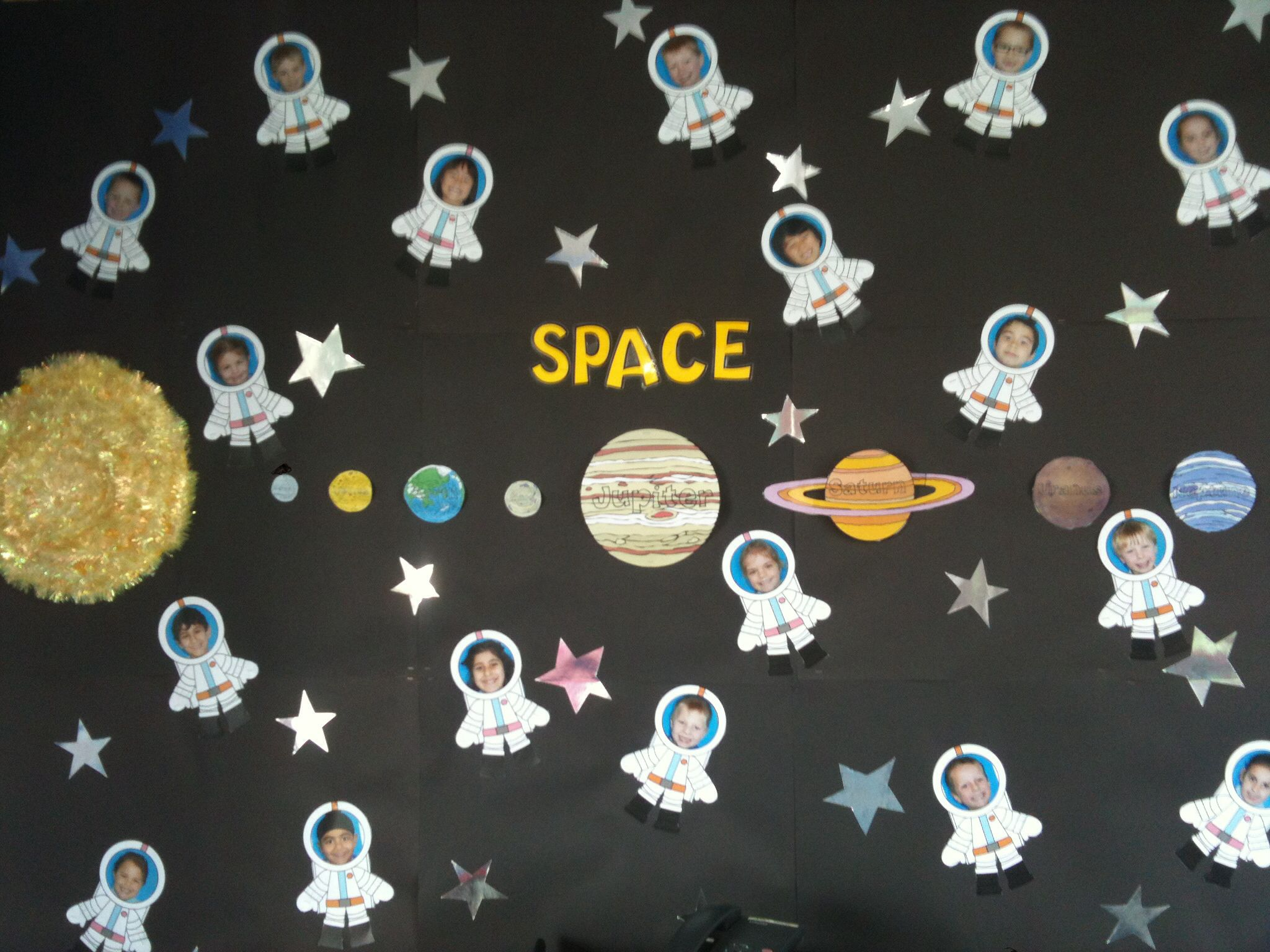 My space themed classroom display i got the spacemen as for Outer space classroom decor