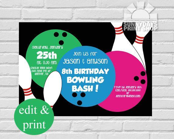 Bowling Invitation, Bowling Party, Bowling Birthday, Invitation - bowling invitation
