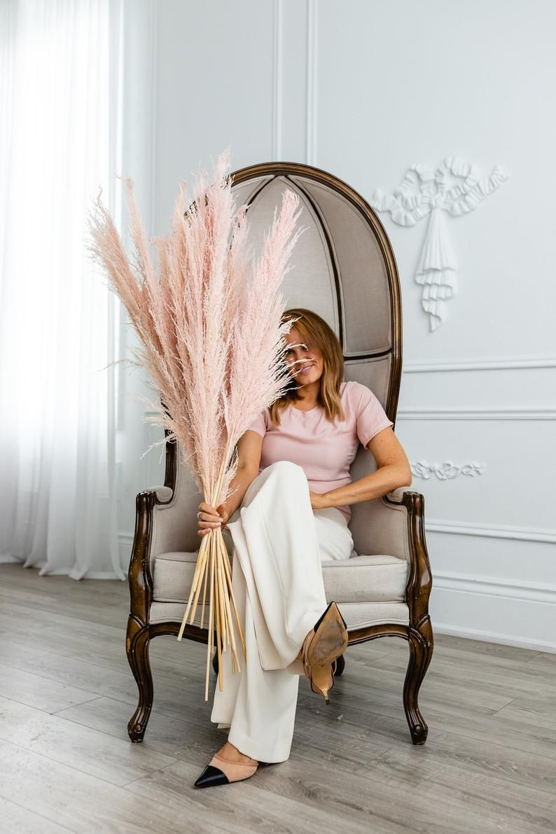 Pink Artificial Plant Natural Dried Pampas Grass In 2020 Dried Flowers Fake Flowers Bunch Of Flowers