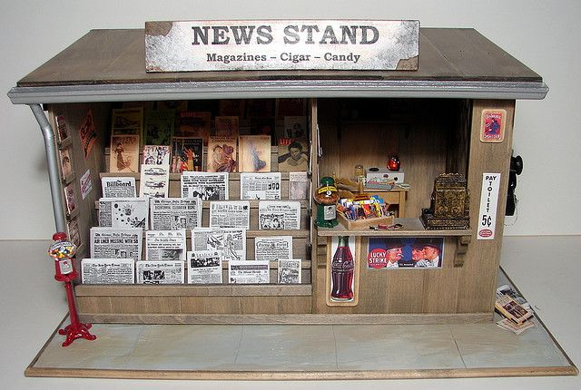 1:12 SCALE Newspaper Rack with Australian /& NZ newspapers tumdee Dolls House