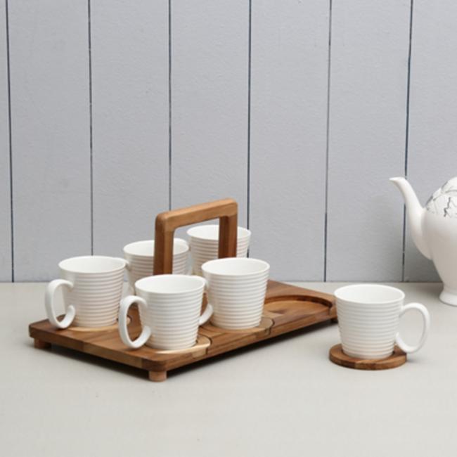Conjunto De 13 Pcs Conjuntos De Xicara De Cha De Porcelana Com Suporte De Bambu Prateleira Find Complete Details About Conjunt Porcelain Tea Cups Tea Cup Set