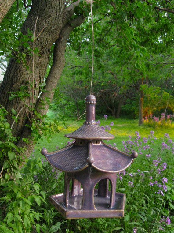 Pagoda Bird Feeder Bird Feeders Ceramic Bird Bath Birds