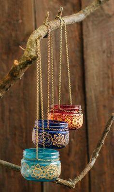 Decoración boda Bohemia, linterna marroquí al aire libre, colgando linternas de la vela tarro, tarro pintado, jarra patrón henna, linterna de colores
