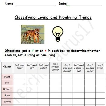 Printables Living Vs Nonliving Worksheet living vs nonliving worksheet davezan vs