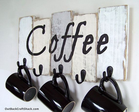 Coffee Mug Holder; Coffee Mug Rack; Kitchen Decor; Kitchen Organization;  Rustic Decor; Coffee Cup Rack; Mug Rack; Custom Orders Welcome