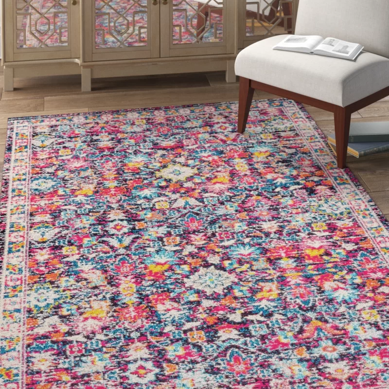 Latrobe Power Loom Blue Pink Yellow Rug Yellow Rug Yellow Area Rugs Rugs