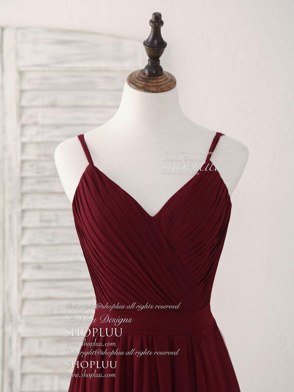 Simple burgundy chiffon long prom dress burgundy evening dress