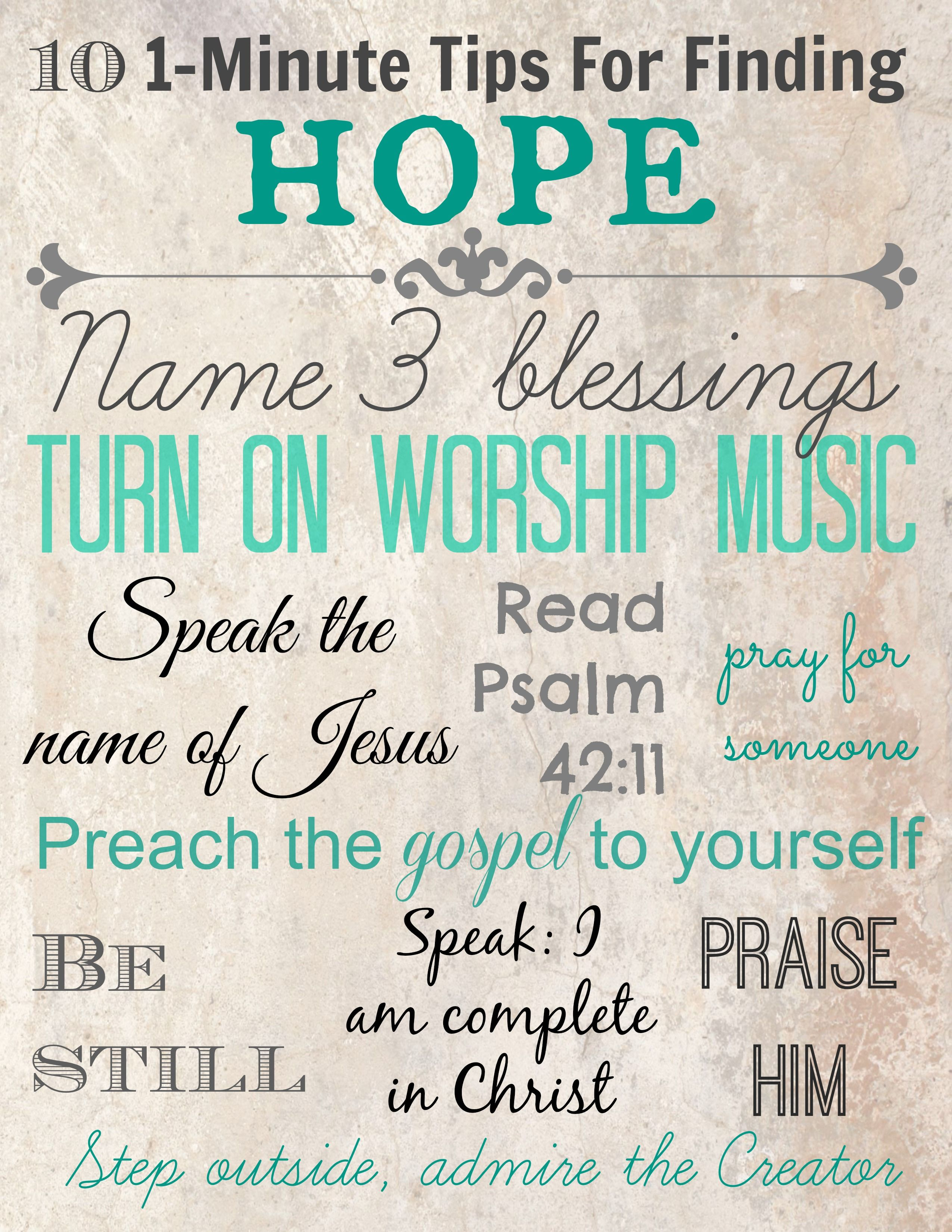 Ten minute tips for finding hope printable lord lead me