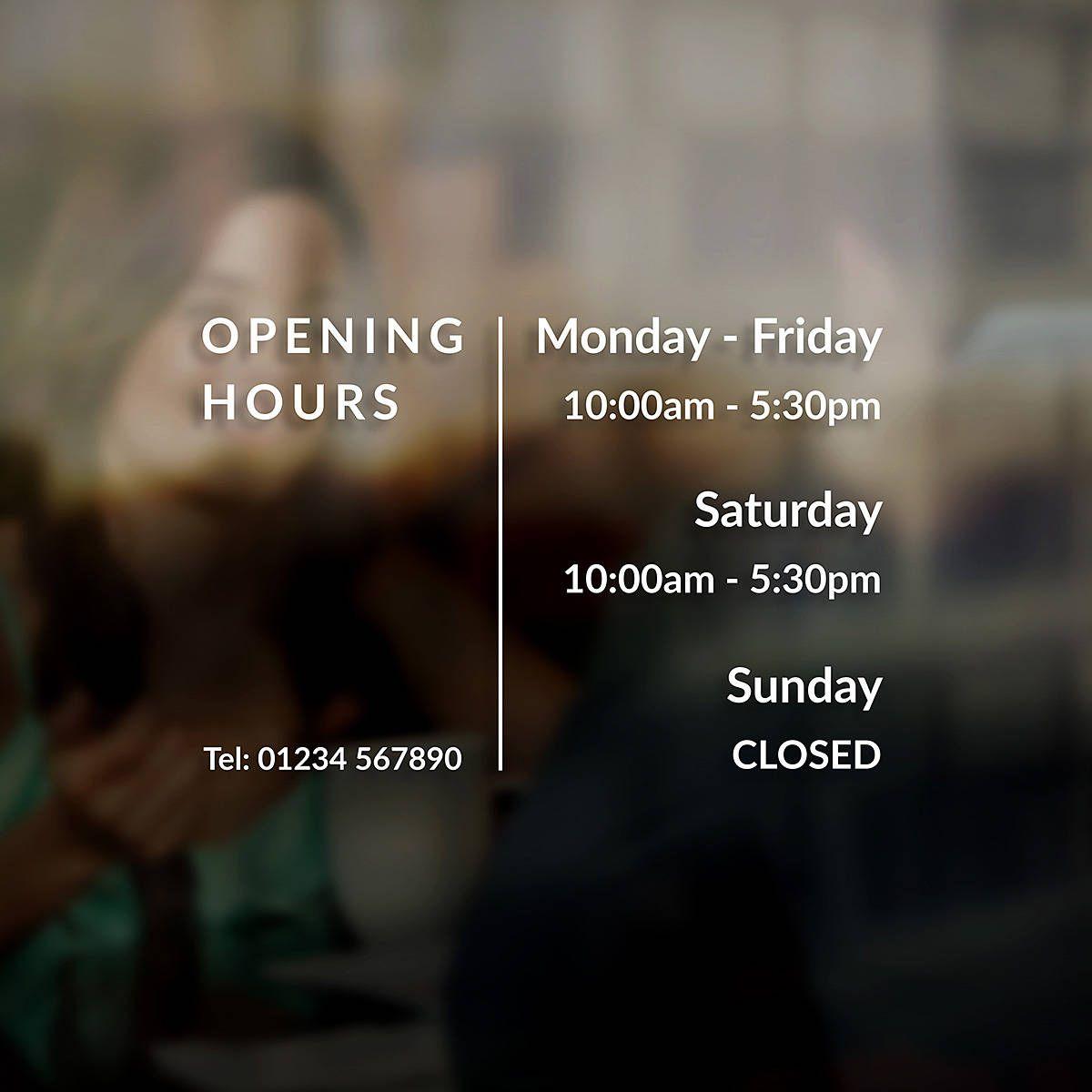Business Opening Times Hours Sign Sticker Window Door ...