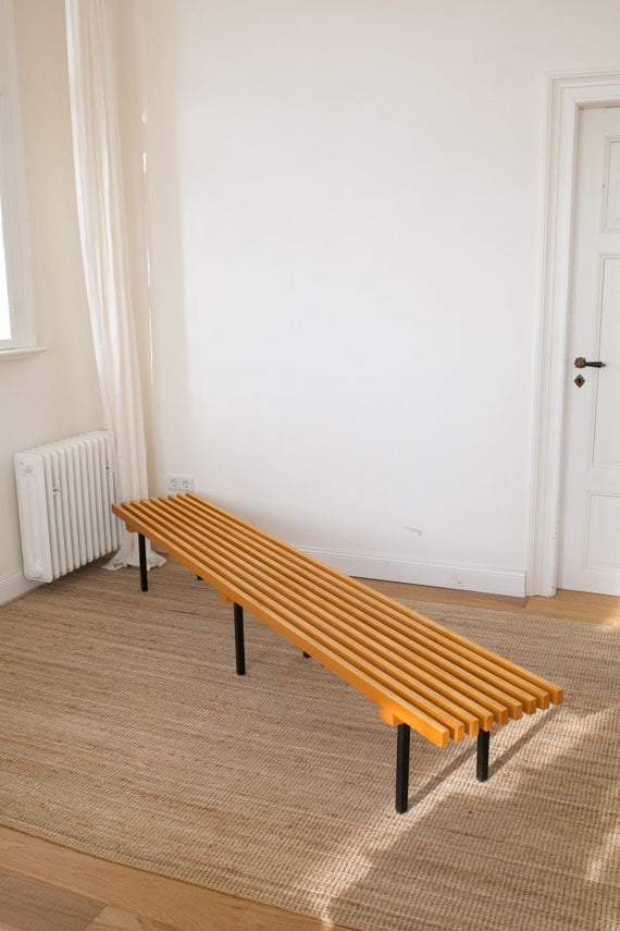 Long Mid Century Wooden Slat Bench With Metal Legs Etsy In 2020 Wooden Slats Tv Furniture Wooden