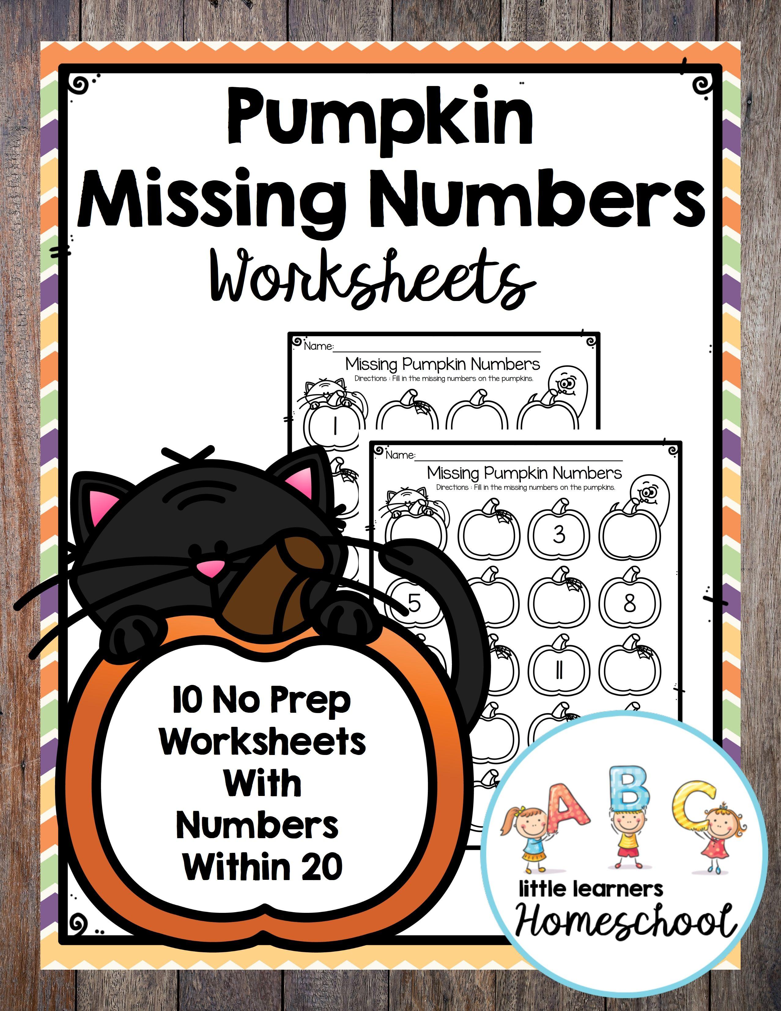 Pumpkin Missing Numbers Worksheets In