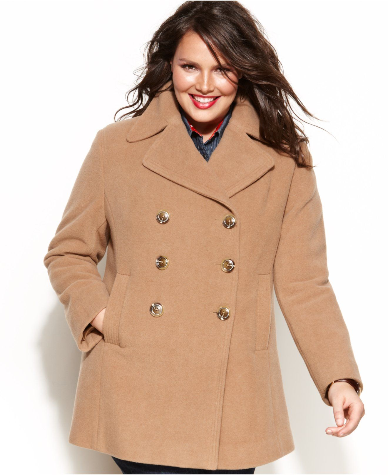 b6d33b23e0c Kenneth Cole Reaction Plus Size Double-Breasted Wool-Blend Pea Coat - Coats  - Women - Macy s