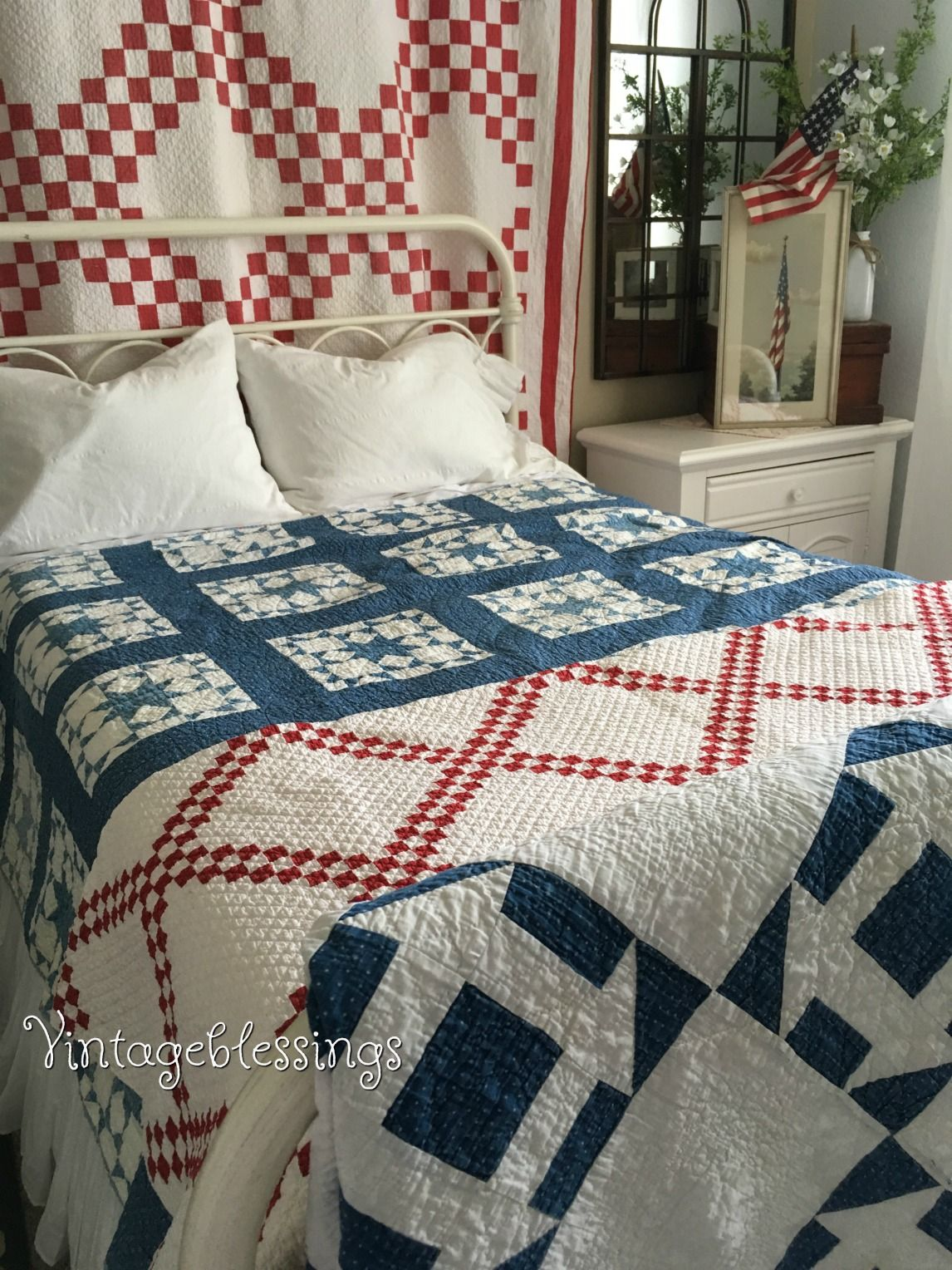 We love decorating in the Americana style. Here we have layered