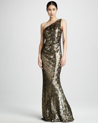 Metallic Leopard-Print Gown by David Meister at Neiman Marcus.