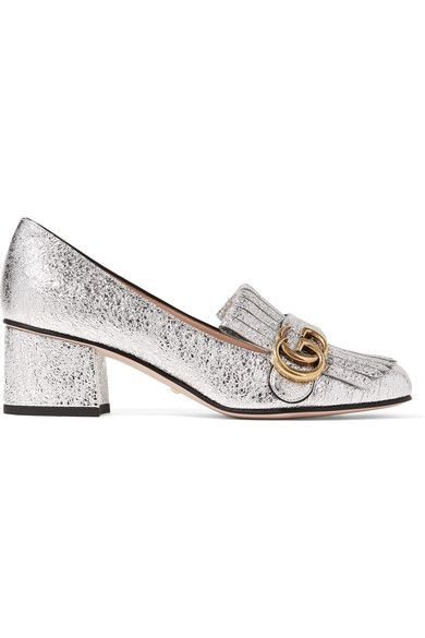 6742e8a323e GUCCI Marmont fringed metallic cracked-leather loafers.  gucci  shoes  pumps