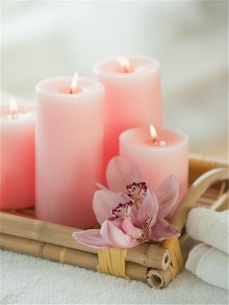 Pastel pink Christmas home decor, Pastel pink Christmas candles