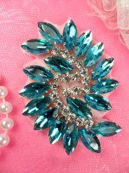 "XR127 Turquoise Crystal Rhinestone Applique /""Bryanna/"" Embellishment 7.5/"""