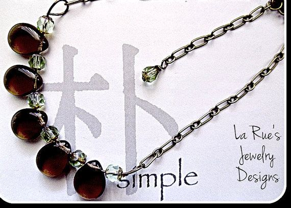 Smoky Quartz Drops with Soft Green Cathedral Crystals Etsy listing at https://www.etsy.com/listing/192436242/smoky-quartz-teardrop-necklace-with