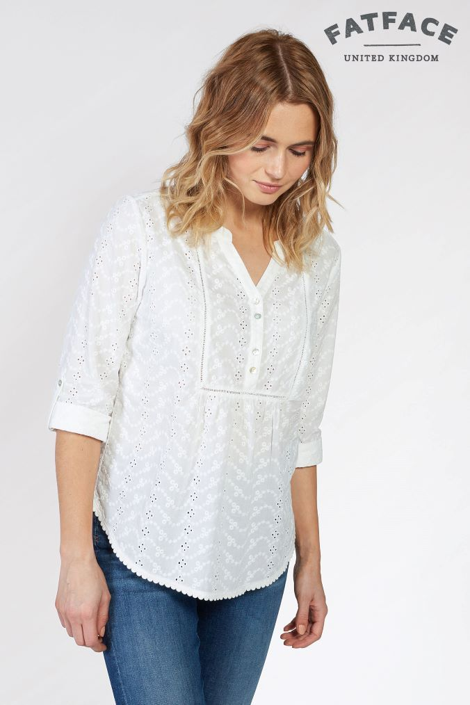 1165bad134d792 Womens FatFace White Poppy Broderie Popover Shirt - White | Products ...