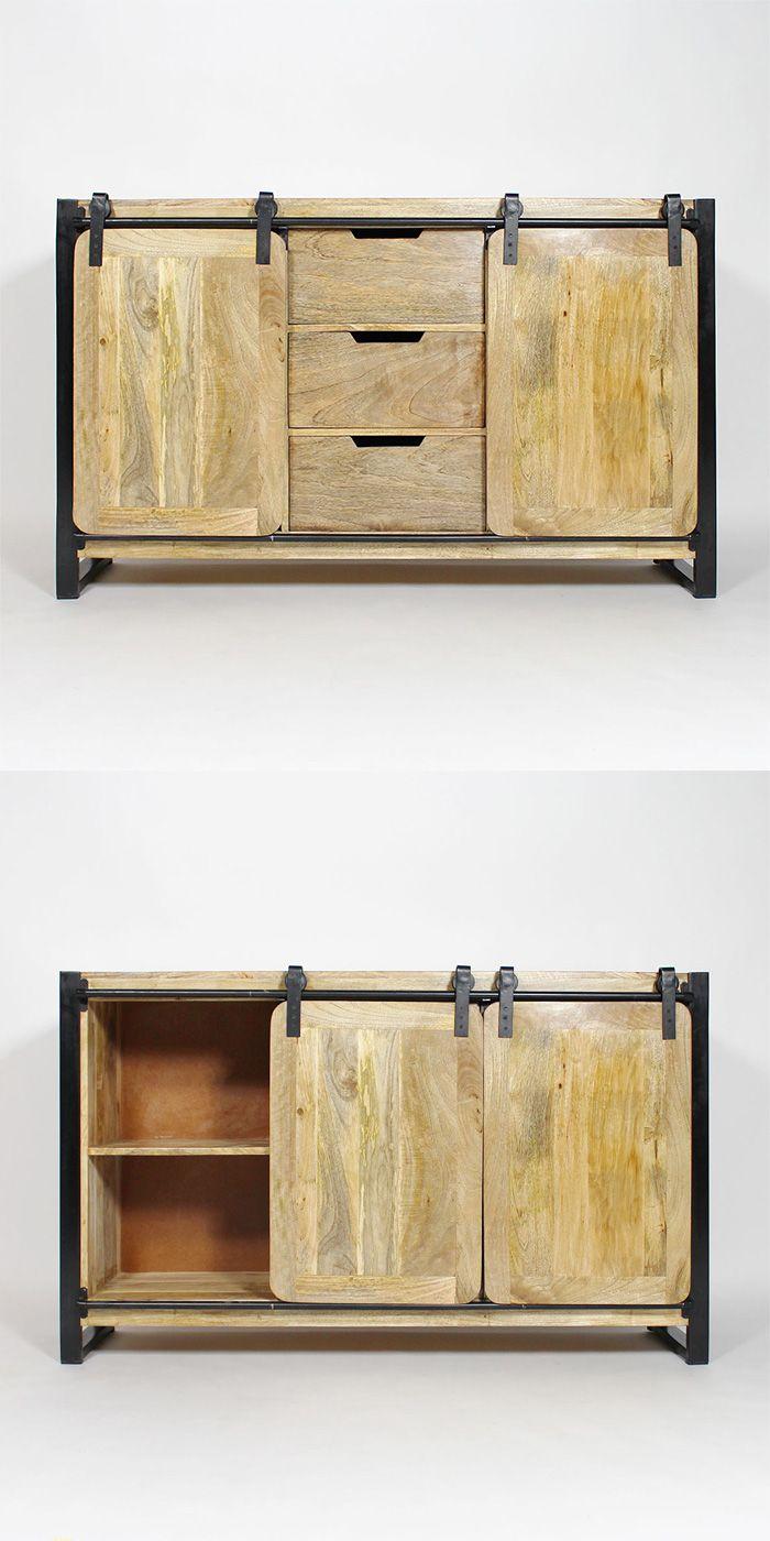 enfilade m tal et bois 2 portes coulissantes 3 tiroirs buffet industriel industriel et en bois. Black Bedroom Furniture Sets. Home Design Ideas