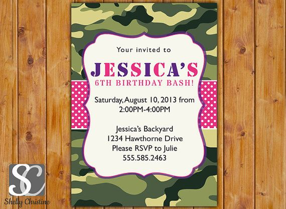 Girls Camo Invitations