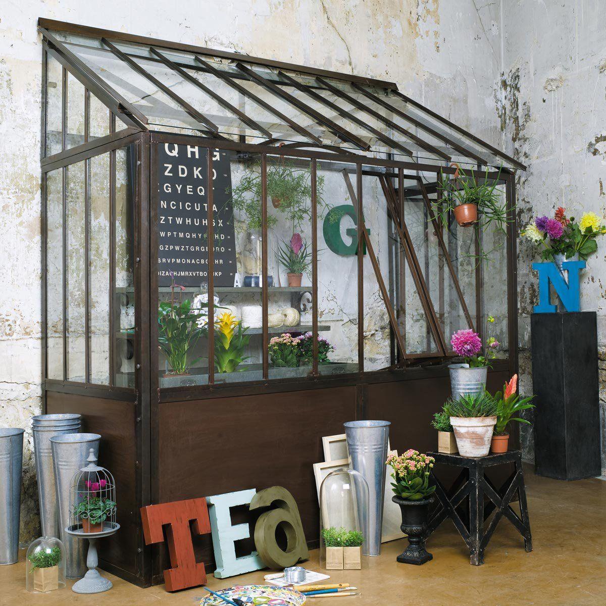demi serre en m tal effet rouille h 245 cm cloche. Black Bedroom Furniture Sets. Home Design Ideas