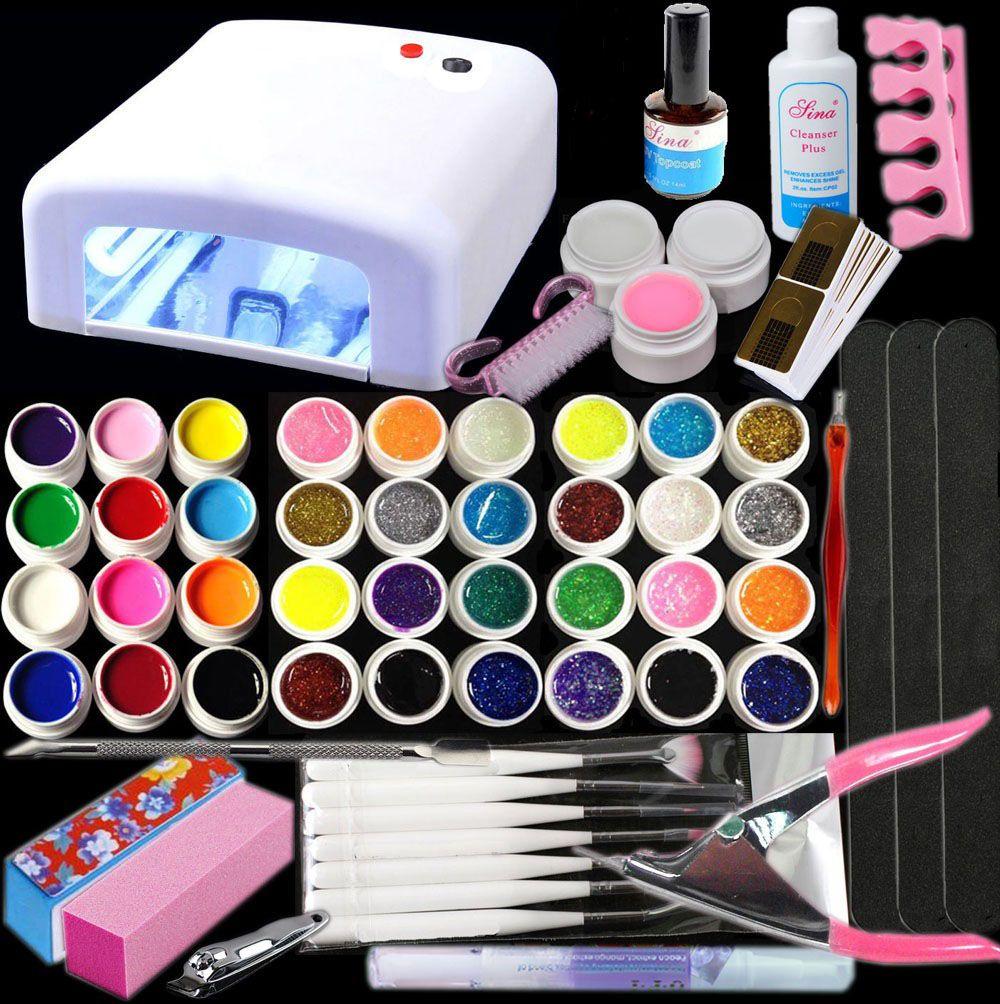 New Pro 36W UV GEL White Lamp & 36 Color UV Gel Nail Art Tools Sets ...