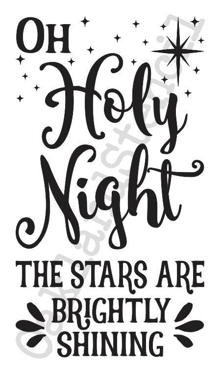 Christmas Holiday STENCILOh Holy Night The Stars 12x20 Signs Fabric Canvas