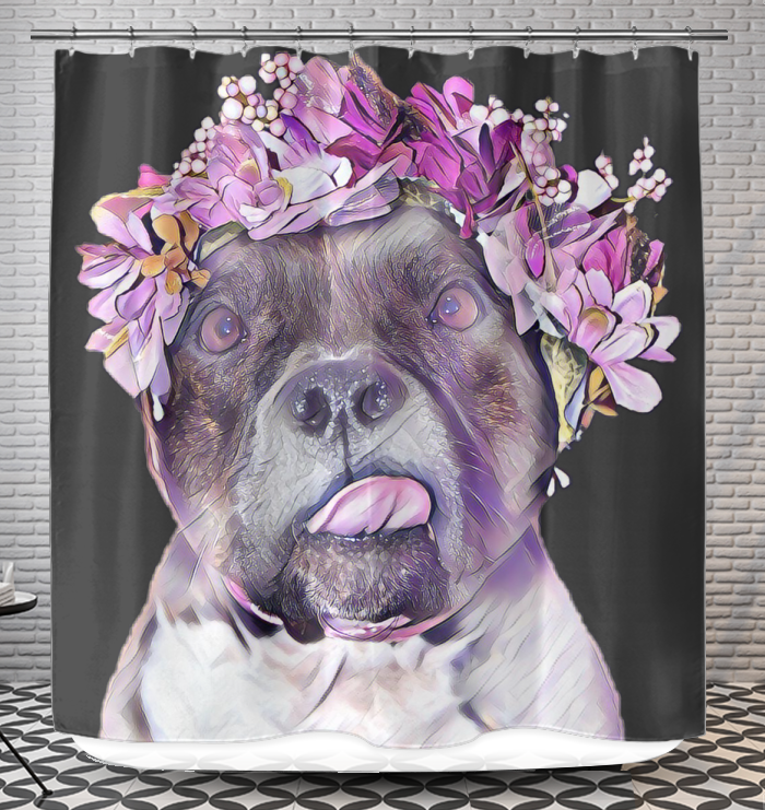 Pitbull Face Flower Mom Gift Pittie Mom Shower Curtain Gifts For Mom Pitbulls Gifts