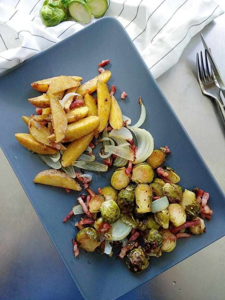 Herbst im Bauch und aus dem Ofen: Gerösteter Rosenkohl mit knusprigen Kartoffelspalten und Speck