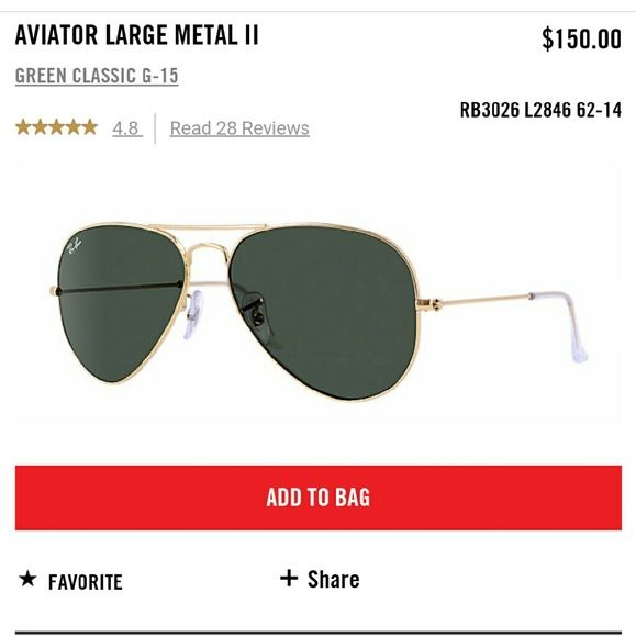 rb3026 prxy  Ray-Ban Aviator 62mm Style RB3026 Gold frames with a green black lens New
