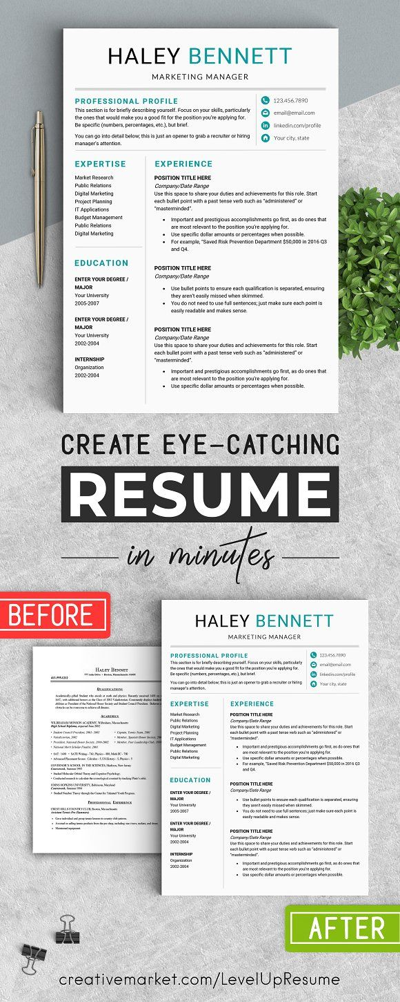 editable resume template    ms word by levelupresume on  creativemarket