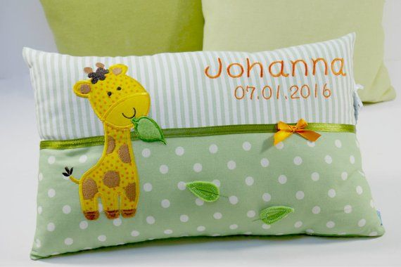 Personalized pillow for birth or baptism, giraffe, in green, made of cotton fabric, cuddly pillow, child pillow, name pillow, baby #greatnames