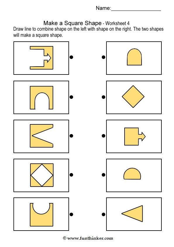 Printable Worksheets brain teasers worksheets for kids : make a square shape | Fejlesztő | Pinterest | Squares, Shapes and Math