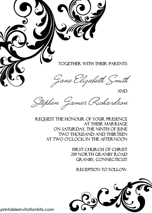 Elegant Wedding Invitation Swirling Borders Printable Kits
